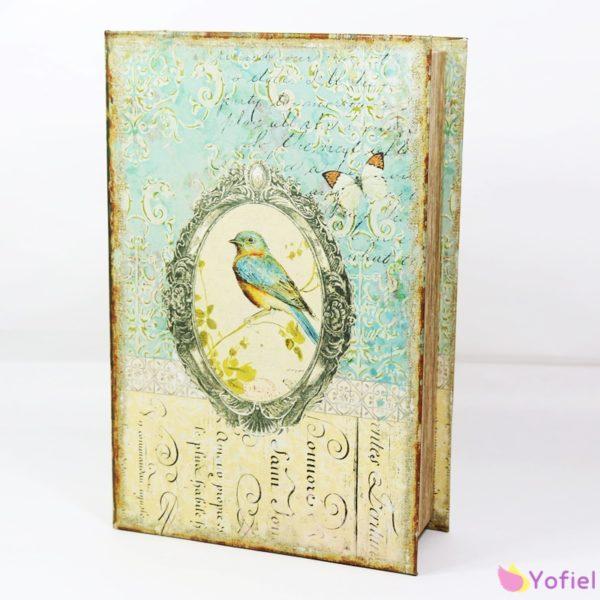 Drevená krabička v tvare knihy Vintage Krabička / šperkovnica s retro motívom
