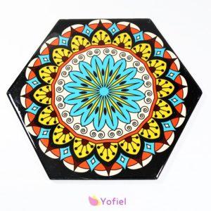 Keramická podložka Mandaly Dekoračná keramická podložka so vzormi - mandala. Vhodná na aranžovanie jedla.