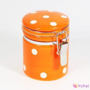 Bodkovaná keramická dóza oranžová na hermetické uzatváranie