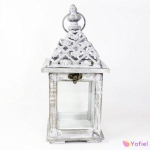 Drevený svietnik - lampáš Vintage provensalFarba šedá patina