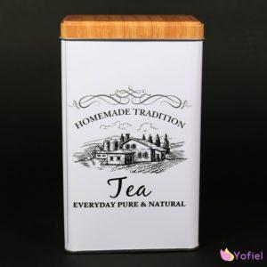 Plechová dóza na čaj s vintage motívom Nápis Tea a vintage motív