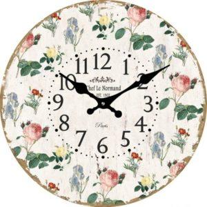 Sklenené nástenné hodiny Vintage kvety Hodiny sú zabalené v kartóne a ochrannej fólii