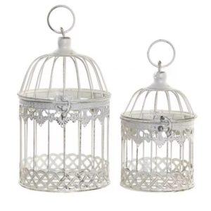 Dekoračné vtáčie klietky kovové - sada 2 ks Vtáčie klietky biele farby v retro/vintage štýle - patinované