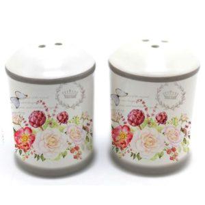 Koreničky Kvety - sada 2ks Sada 2 keramických koreničiek na soľ a čierne korenie. Materiál: keramika