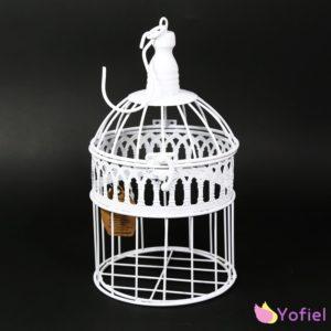 Dekoračná vtáčia klietka malá Vtáčie klietky biele farby v retro/vintage štýleMateriál: kov