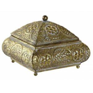 Orientálna kovová šperkovnica Šperkovnica v zlatej farbe - patinovaná. Vinatge štýl.