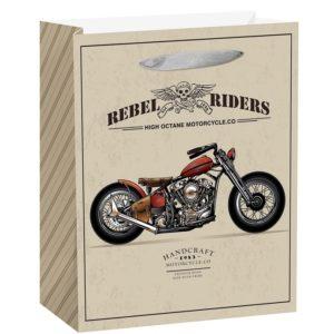 Papierová darčeková taška retro motocykel 18x23cm
