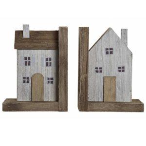 Drevené zarážky na knihy Domčeky 2ks Dekoračné drevené záražky pre vaše obľúbené knihy