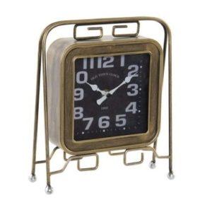Vintage stolové hodiny Retro - vintage stolové hodiny bronzovej farby vhodne doplnia každý vintage domov. Veľké čísla.