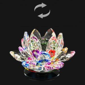 Krištáľový lotosový kvet otáčací farebný darček pre šťastie Lotos je symbolom znovuzrodenia, šťastia, krásy, života, čistoty duchovnosti
